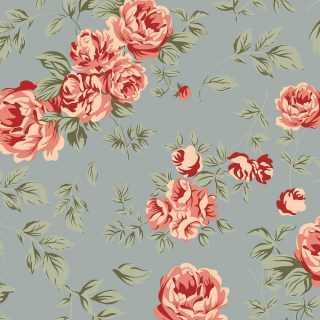 6707 - Grand Floral Nashville Acqua - 0.5m